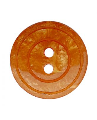 polyester button round shape with shiny surface, pearl effect and 2 holes - Size: 20mm - Color: orange - Art.No.: 338809