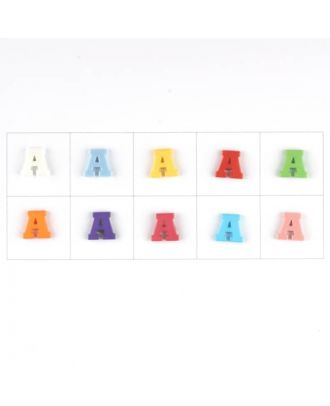 letter A, 10 mixed colours, 3 buttons per colour - Size: 11mm - Color: mixed: red, pink, orange, lilac, blue, yellow, green, white, light blue,rose - Art.-Nr.: 181333