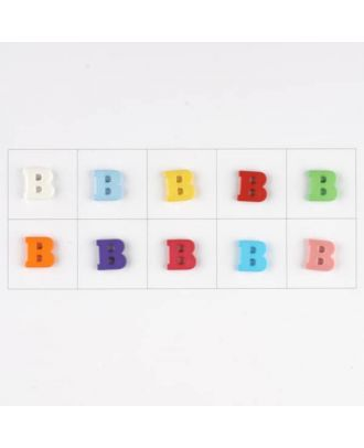 letter B, 10 mixed colours, 3 buttons per colour - Size: 11mm - Color: mixed: red, pink, orange, lilac, blue, yellow, green, white, light blue,rose - Art.-Nr.: 181334