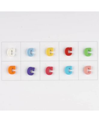 letter C, 10 mixed colours, 3 buttons per colour - Size: 11mm - Color: mixed: red, pink, orange, lilac, blue, yellow, green, white, light blue,rose - Art.-Nr.: 181335