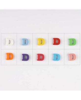 letter D, 10 mixed colours, 3 buttons per colour - Size: 11mm - Color: mixed: red, pink, orange, lilac, blue, yellow, green, white, light blue,rose - Art.-Nr.: 181336