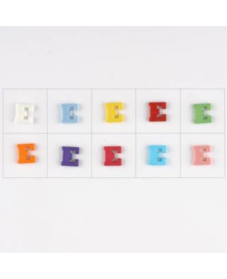 letter E, 10 mixed colours, 3 buttons per colour - Size: 11mm - Color: mixed: red, pink, orange, lilac, blue, yellow, green, white, light blue,rose - Art.-Nr.: 181337