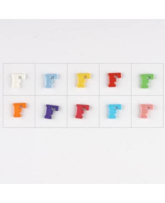 letter F, 10 mixed colours, 3 buttons per colour - Size: 11mm - Color: mixed: red, pink, orange, lilac, blue, yellow, green, white, light blue,rose - Art.-Nr.: 181338