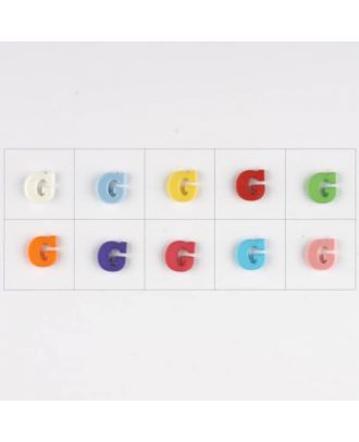 letter G, 10 mixed colours, 3 buttons per colour - Size: 11mm - Color: mixed: red, pink, orange, lilac, blue, yellow, green, white, light blue,rose - Art.-Nr.: 181339