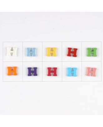 letter H, 10 mixed colours, 3 buttons per colour - Size: 11mm - Color: mixed: red, pink, orange, lilac, blue, yellow, green, white, light blue,rose - Art.-Nr.: 181340