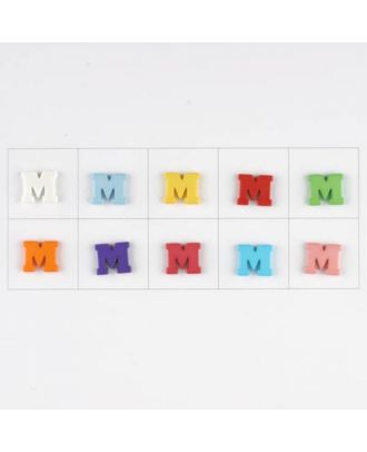 letter M, 10 mixed colours, 3 buttons per colour - Size: 11mm - Color: mixed: red, pink, orange, lilac, blue, yellow, green, white, light blue,rose - Art.-Nr.: 181345