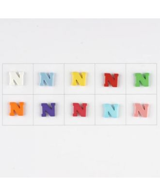 letter N, 10 mixed colours, 3 buttons per colour - Size: 11mm - Color: mixed: red, pink, orange, lilac, blue, yellow, green, white, light blue,rose - Art.-Nr.: 181346