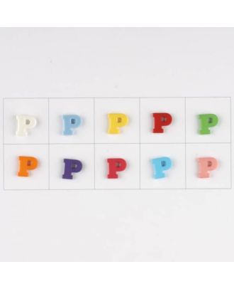 letter P, 10 mixed colours, 3 buttons per colour - Size: 11mm - Color: mixed: red, pink, orange, lilac, blue, yellow, green, white, light blue,rose - Art.-Nr.: 181348