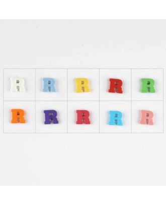 letter R, 10 mixed colours, 3 buttons per colour - Size: 11mm - Color: mixed: red, pink, orange, lilac, blue, yellow, green, white, light blue,rose - Art.-Nr.: 181350