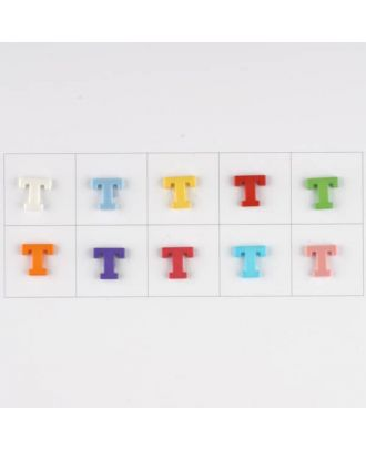 letter T, 10 mixed colours, 3 buttons per colour - Size: 11mm - Color: mixed: red, pink, orange, lilac, blue, yellow, green, white, light blue,rose - Art.-Nr.: 181352