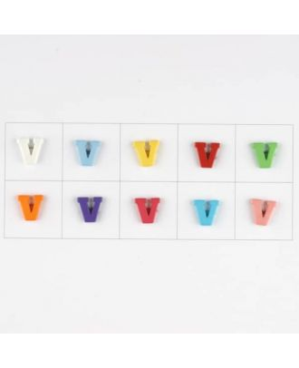 letter V, 10 mixed colours, 3 buttons per colour - Size: 11mm - Color: mixed: red, pink, orange, lilac, blue, yellow, green, white, light blue,rose - Art.-Nr.: 181354