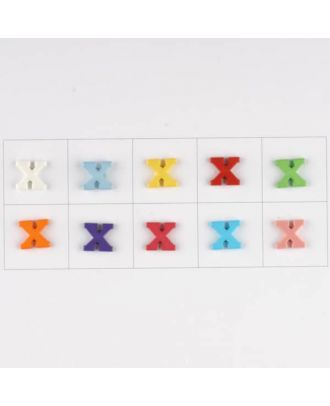 letter X, 10 mixed colours, 3 buttons per colour - Size: 11mm - Color: mixed: red, pink, orange, lilac, blue, yellow, green, white, light blue,rose - Art.-Nr.: 181356