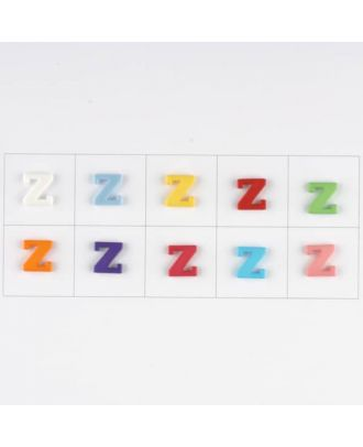 letter Z, 10 mixed colours, 3 buttons per colour - Size: 11mm - Color: mixed: red, pink, orange, lilac, blue, yellow, green, white, light blue,rose - Art.-Nr.: 181358