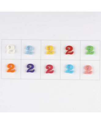 number 2, 10 mixed colours, 3 buttons per colour - Size: 11mm - Color: mixed: red, pink, orange, lilac, blue, yellow, green, white, light blue,rose - Art.-Nr.: 181361
