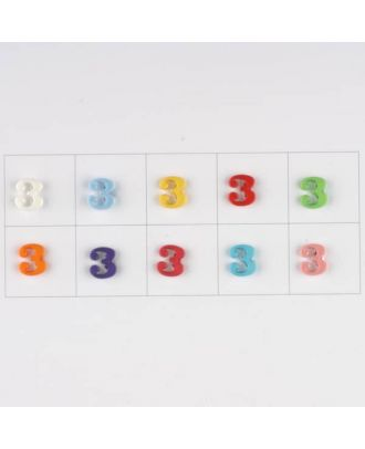 number 3, 10 mixed colours, 3 buttons per colour - Size: 11mm - Color: mixed: red, pink, orange, lilac, blue, yellow, green, white, light blue,rose - Art.-Nr.: 181362