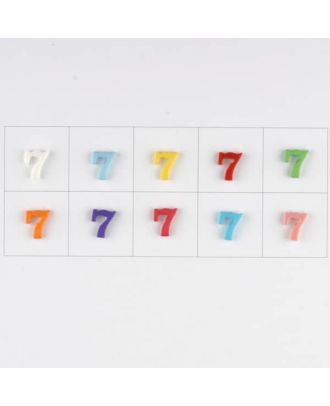 number 7, 10 mixed colours, 3 buttons per colour - Size: 11mm - Color: mixed: red, pink, orange, lilac, blue, yellow, green, white, light blue,rose - Art.-Nr.: 181366
